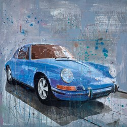 Porsche 911 (Blue) by Markus Haub -  sized 32x32 inches. Available from Whitewall Galleries